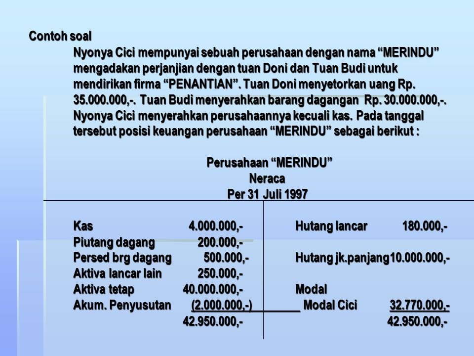 Contoh soal Nyonya Cici mempunyai sebuah perusahaan dengan nama MERINDU mengadakan perjanjian dengan tuan Doni dan Tuan Budi untuk mendirikan firma PENANTIAN .