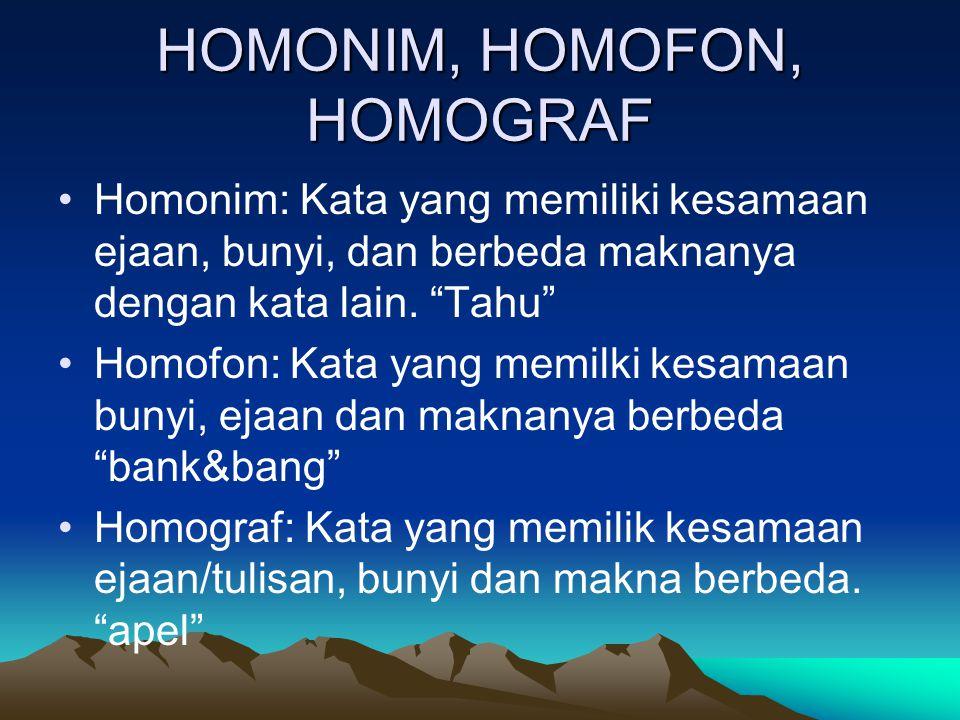 HOMONIM, HOMOFON, HOMOGRAF