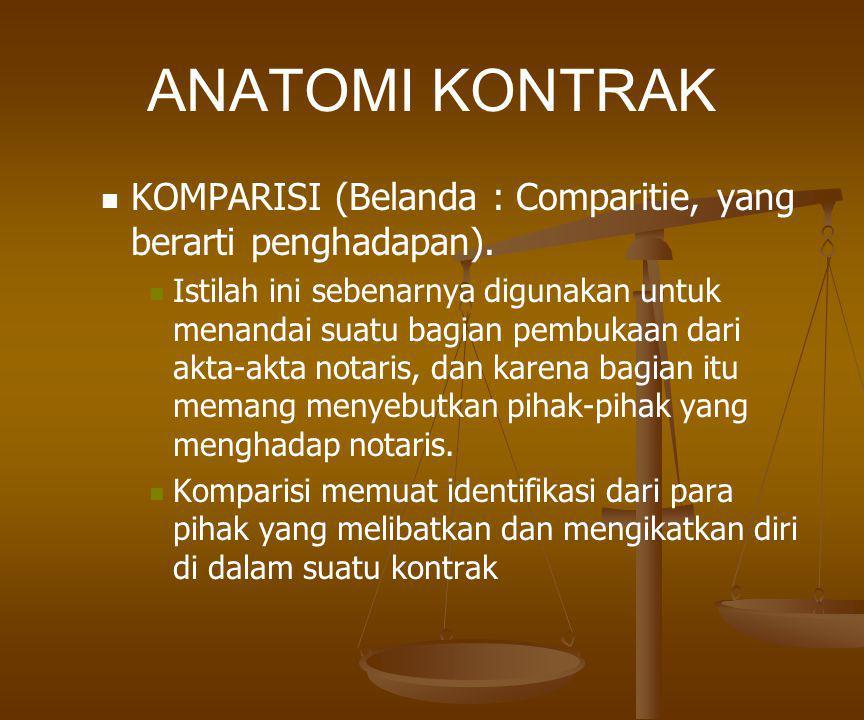 ANATOMI KONTRAK KOMPARISI (Belanda : Comparitie, yang berarti penghadapan).