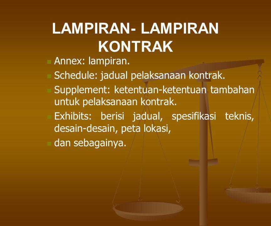 LAMPIRAN- LAMPIRAN KONTRAK