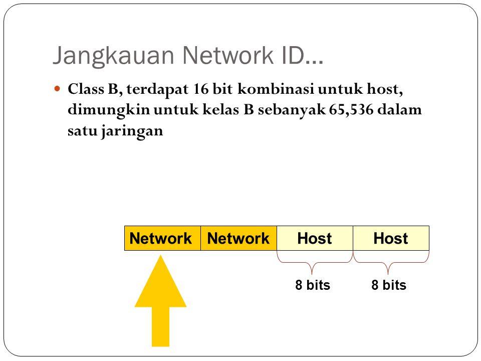 Jangkauan Network ID… Class B, terdapat 16 bit kombinasi untuk host, dimungkin untuk kelas B sebanyak 65,536 dalam satu jaringan.