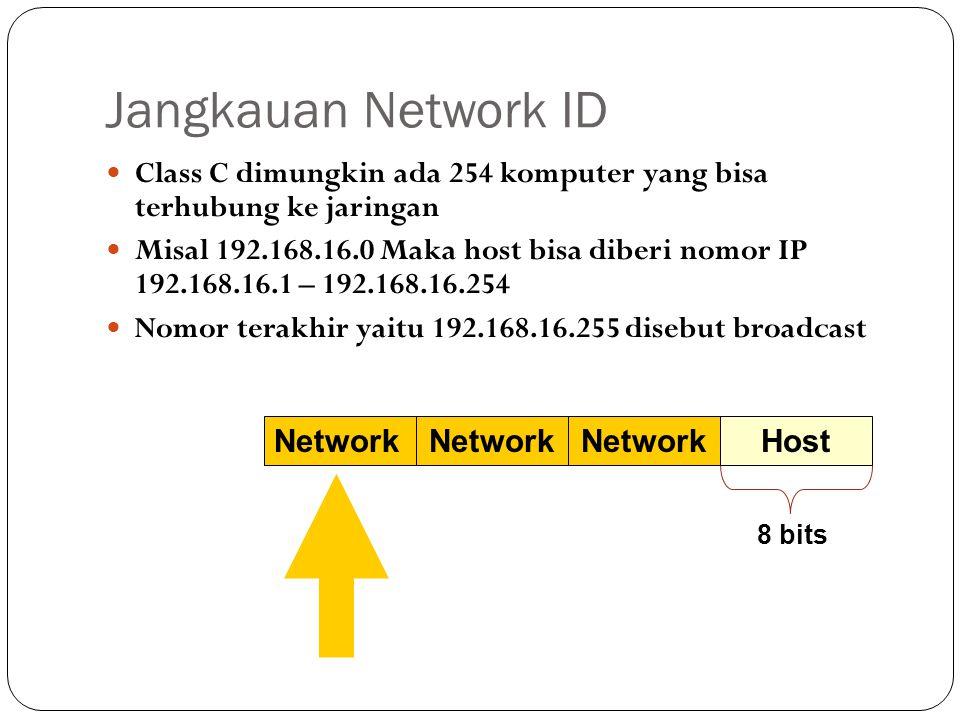 Jangkauan Network ID Class C dimungkin ada 254 komputer yang bisa terhubung ke jaringan.