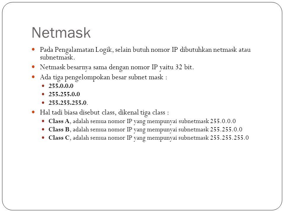 Netmask Pada Pengalamatan Logik, selain butuh nomor IP dibutuhkan netmask atau subnetmask. Netmask besarnya sama dengan nomor IP yaitu 32 bit.