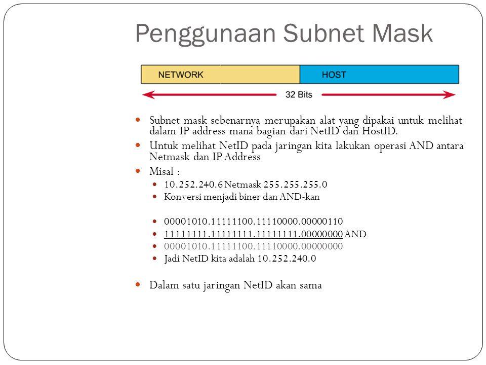 Penggunaan Subnet Mask