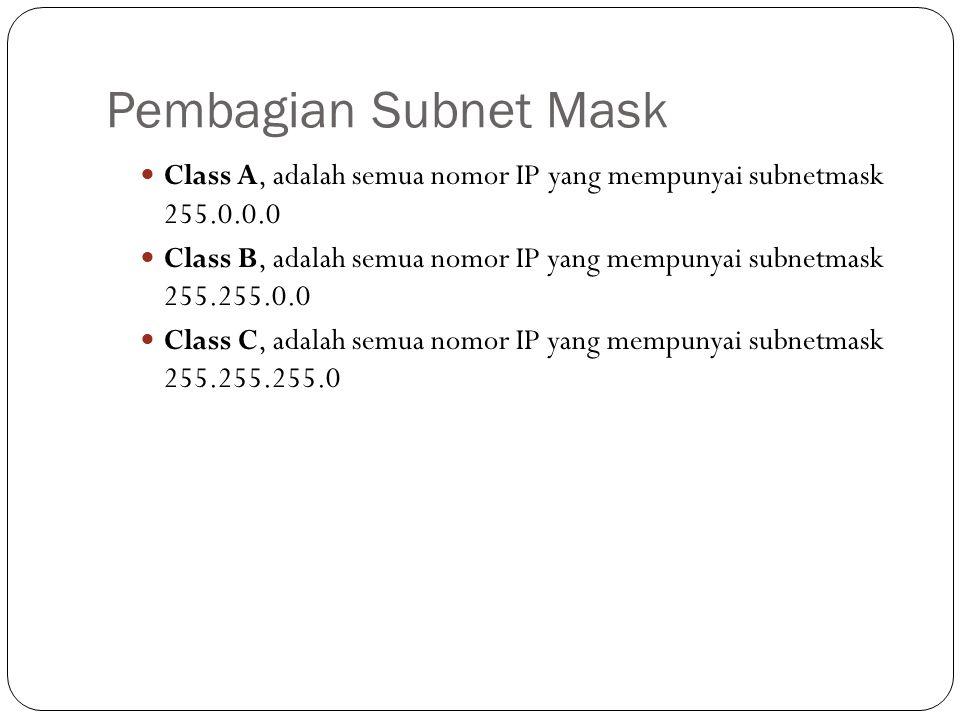 Pembagian Subnet Mask Class A, adalah semua nomor IP yang mempunyai subnetmask 255.0.0.0.