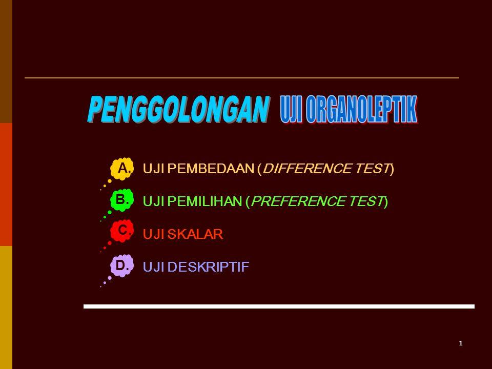 PENGGOLONGAN UJI ORGANOLEPTIK A. UJI PEMBEDAAN (DIFFERENCE TEST)