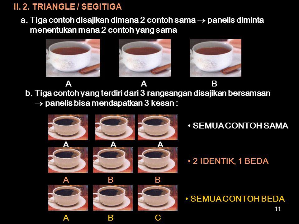 II. 2. TRIANGLE / SEGITIGA a. Tiga contoh disajikan dimana 2 contoh sama  panelis diminta menentukan mana 2 contoh yang sama.