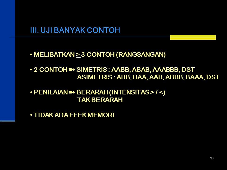 III. UJI BANYAK CONTOH MELIBATKAN > 3 CONTOH (RANGSANGAN)