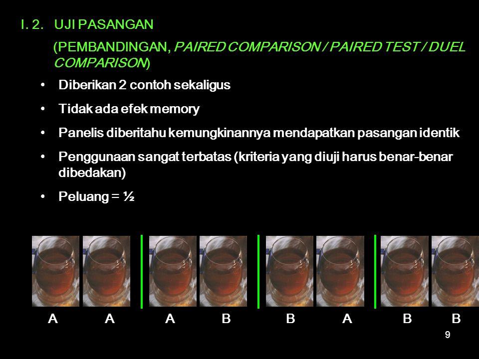I. 2. UJI PASANGAN (PEMBANDINGAN, PAIRED COMPARISON / PAIRED TEST / DUEL COMPARISON) Diberikan 2 contoh sekaligus.