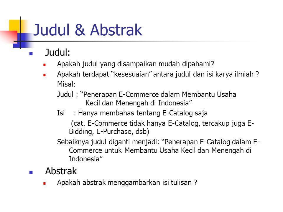 Judul & Abstrak Judul: Abstrak