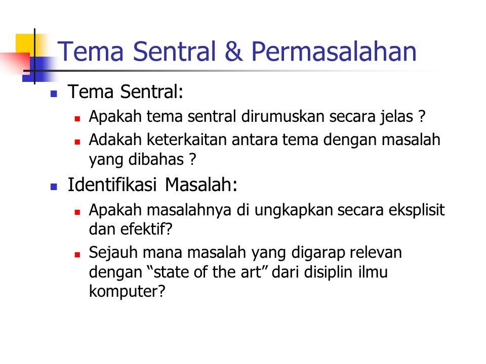 Tema Sentral & Permasalahan