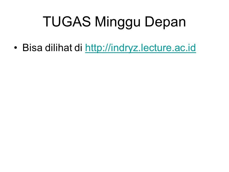 TUGAS Minggu Depan Bisa dilihat di http://indryz.lecture.ac.id
