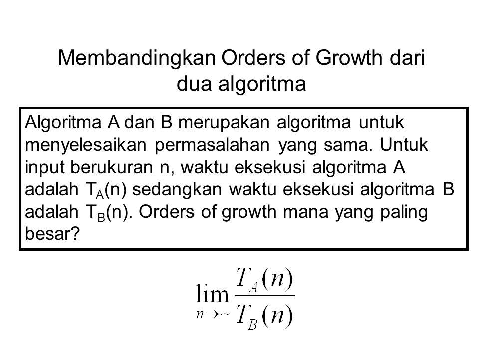 Membandingkan Orders of Growth dari dua algoritma