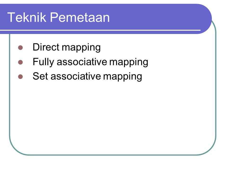 Teknik Pemetaan Direct mapping Fully associative mapping