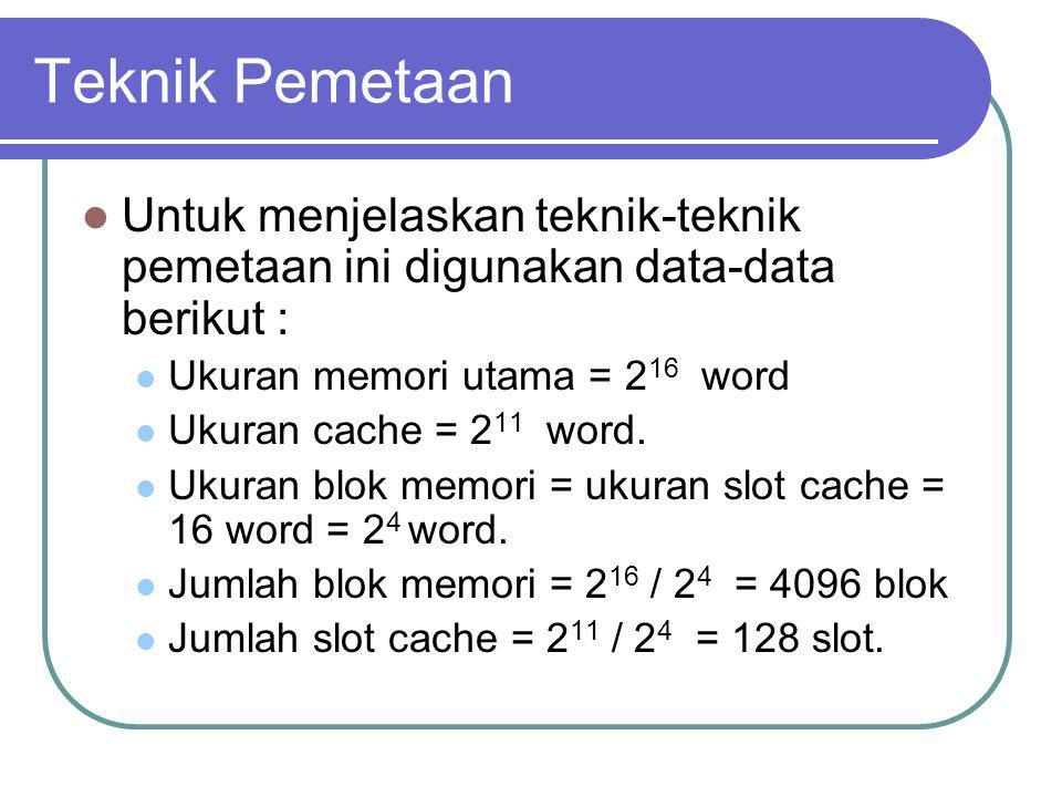 Teknik Pemetaan Untuk menjelaskan teknik-teknik pemetaan ini digunakan data-data berikut : Ukuran memori utama = 216 word.