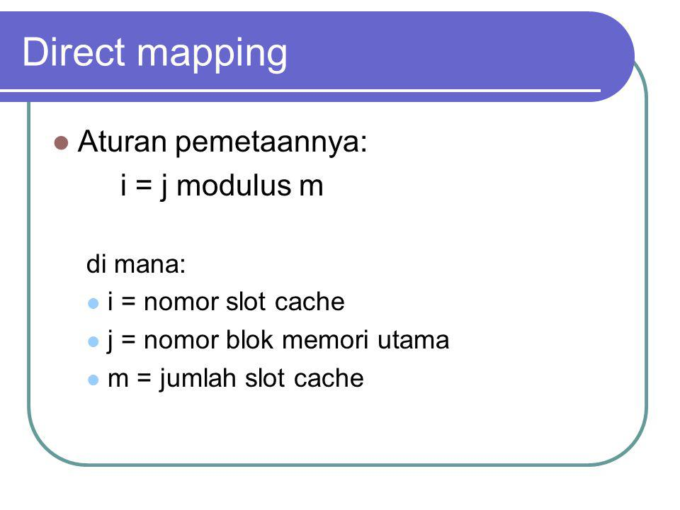 Direct mapping Aturan pemetaannya: i = j modulus m di mana: