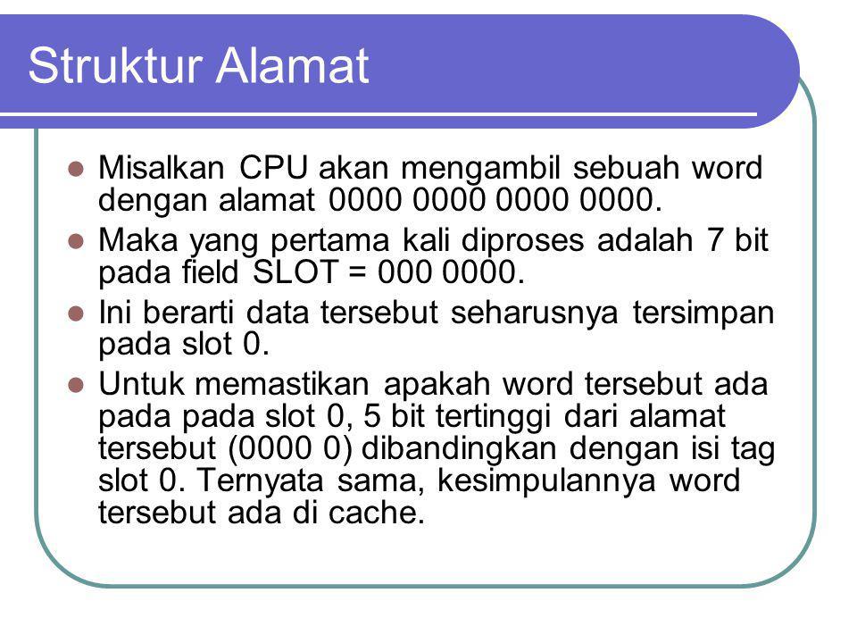 Struktur Alamat Misalkan CPU akan mengambil sebuah word dengan alamat 0000 0000 0000 0000.