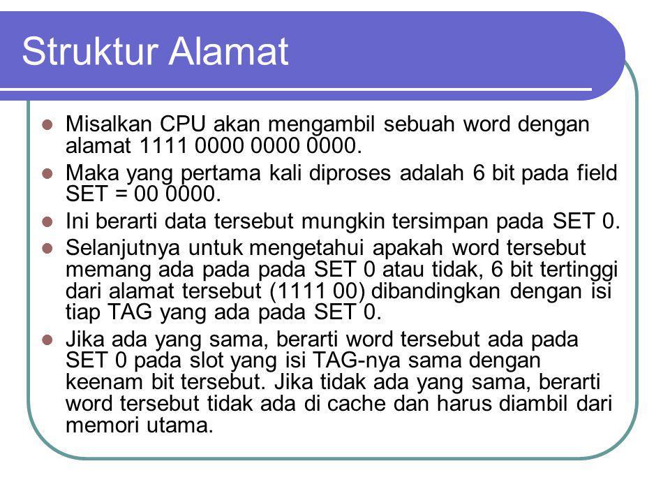 Struktur Alamat Misalkan CPU akan mengambil sebuah word dengan alamat 1111 0000 0000 0000.