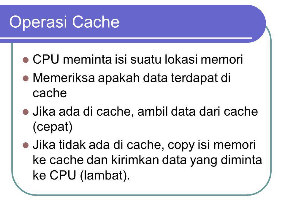 Operasi Cache CPU meminta isi suatu lokasi memori