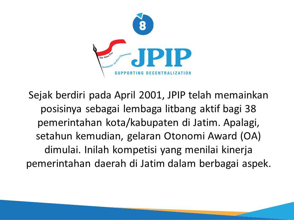 Sejak berdiri pada April 2001, JPIP telah memainkan posisinya sebagai lembaga litbang aktif bagi 38 pemerintahan kota/kabupaten di Jatim.