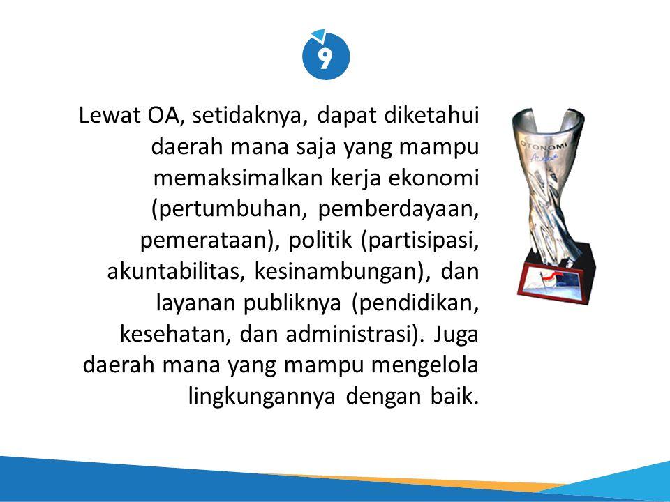 Lewat OA, setidaknya, dapat diketahui daerah mana saja yang mampu memaksimalkan kerja ekonomi (pertumbuhan, pemberdayaan, pemerataan), politik (partisipasi, akuntabilitas, kesinambungan), dan layanan publiknya (pendidikan, kesehatan, dan administrasi).