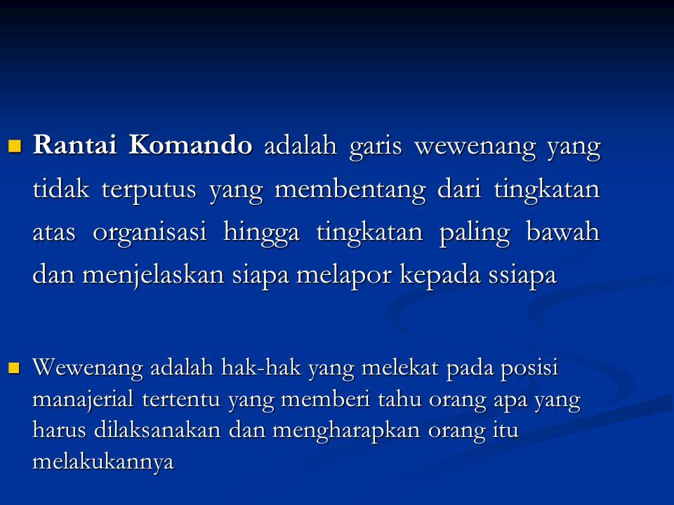 Rantai Komando adalah garis wewenang yang tidak terputus yang membentang dari tingkatan atas organisasi hingga tingkatan paling bawah dan menjelaskan siapa melapor kepada ssiapa
