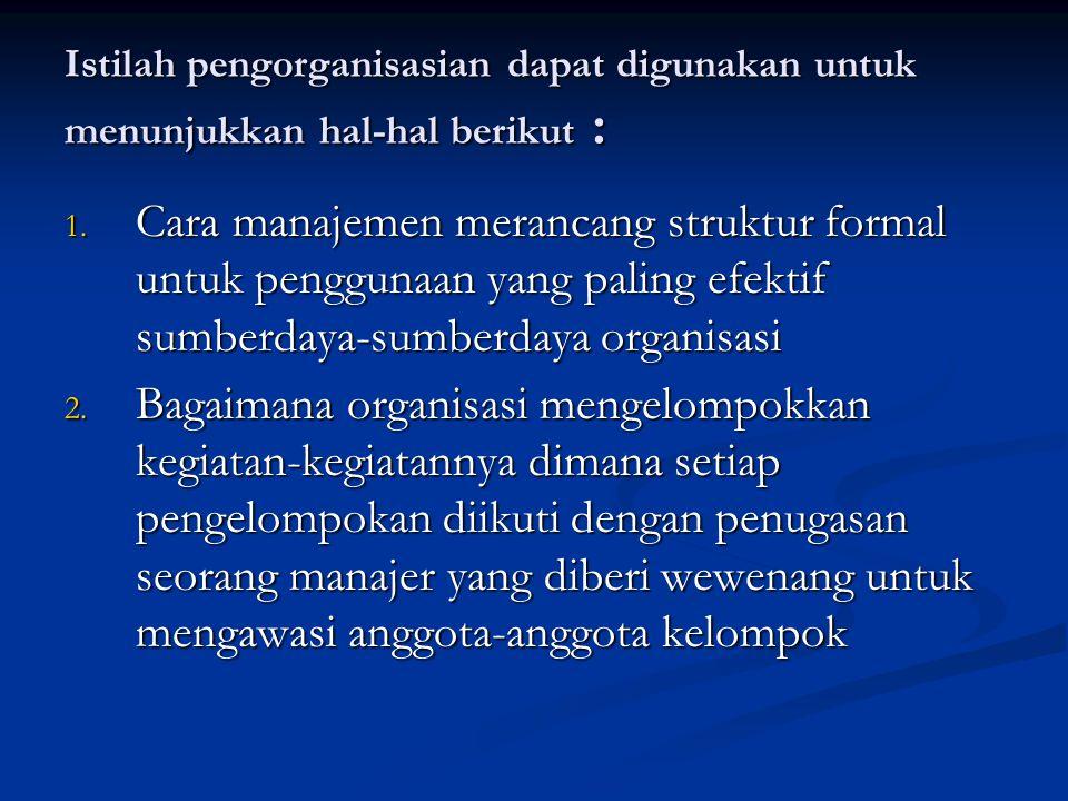 Istilah pengorganisasian dapat digunakan untuk menunjukkan hal-hal berikut :