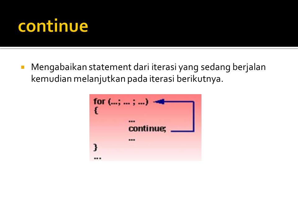 continue Mengabaikan statement dari iterasi yang sedang berjalan kemudian melanjutkan pada iterasi berikutnya.