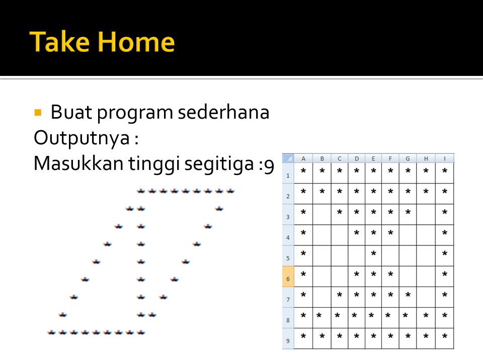 Take Home Buat program sederhana Outputnya :