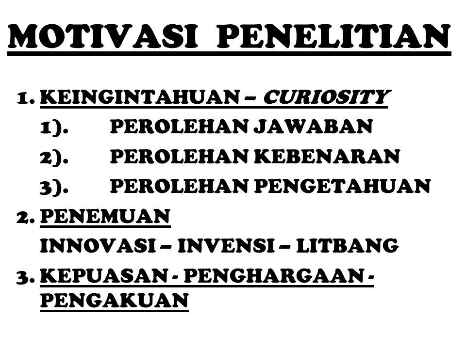 MOTIVASI PENELITIAN KEINGINTAHUAN – CURIOSITY 1). PEROLEHAN JAWABAN