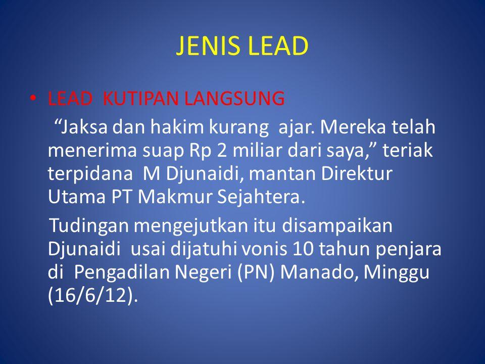 JENIS LEAD LEAD KUTIPAN LANGSUNG