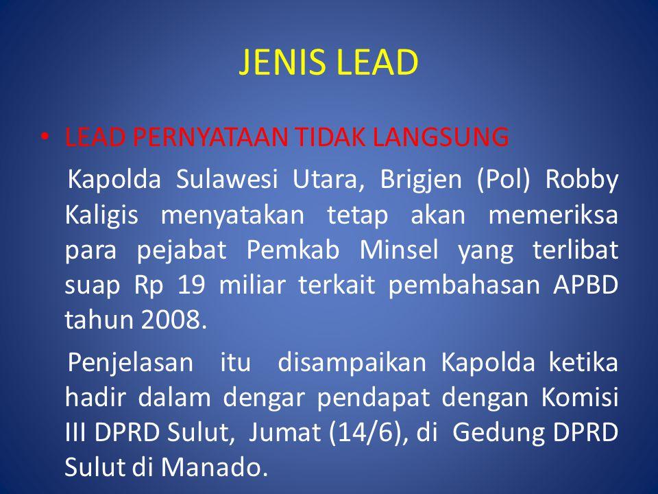 JENIS LEAD LEAD PERNYATAAN TIDAK LANGSUNG