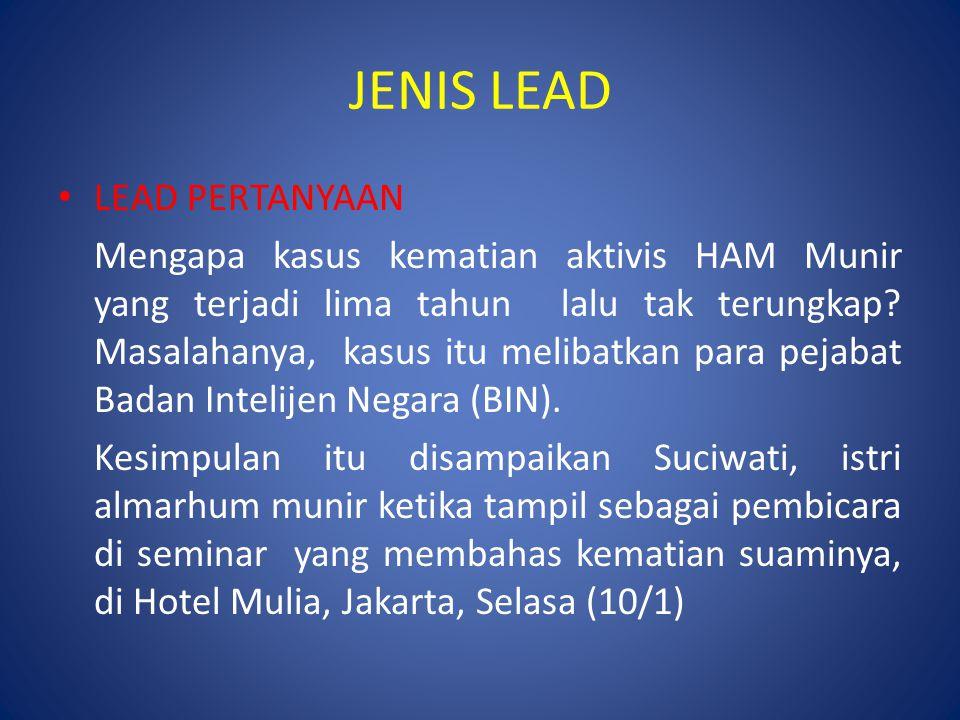 JENIS LEAD LEAD PERTANYAAN