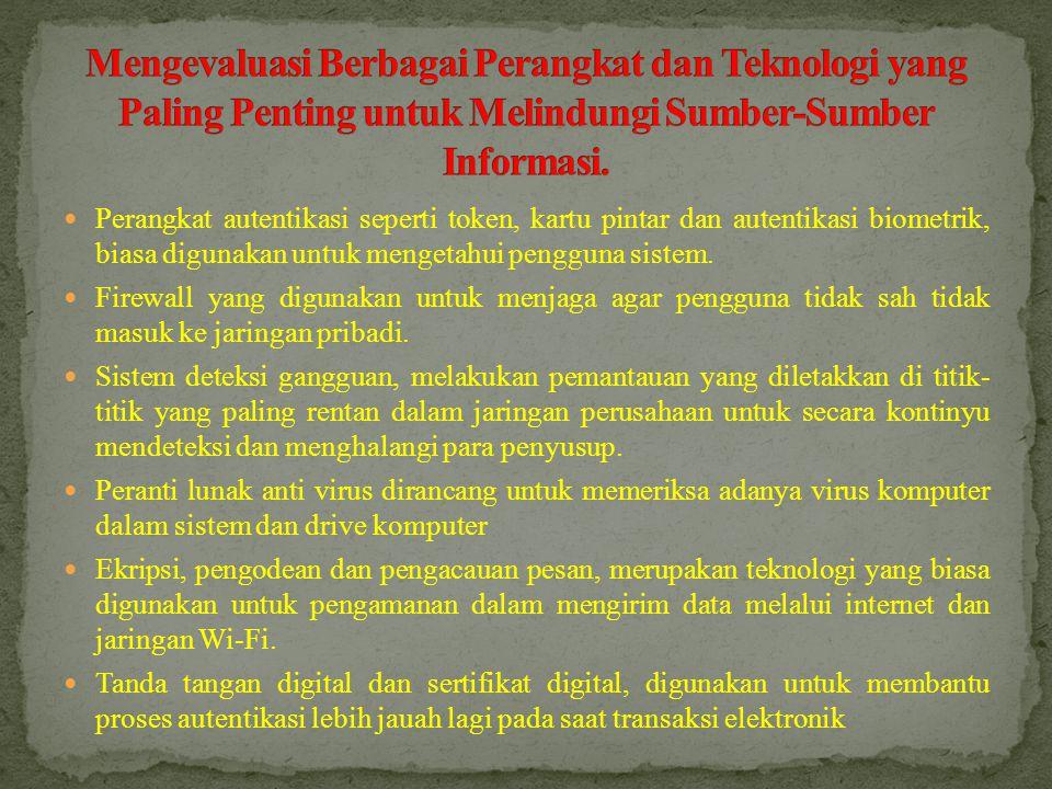 Mengevaluasi Berbagai Perangkat dan Teknologi yang Paling Penting untuk Melindungi Sumber-Sumber Informasi.