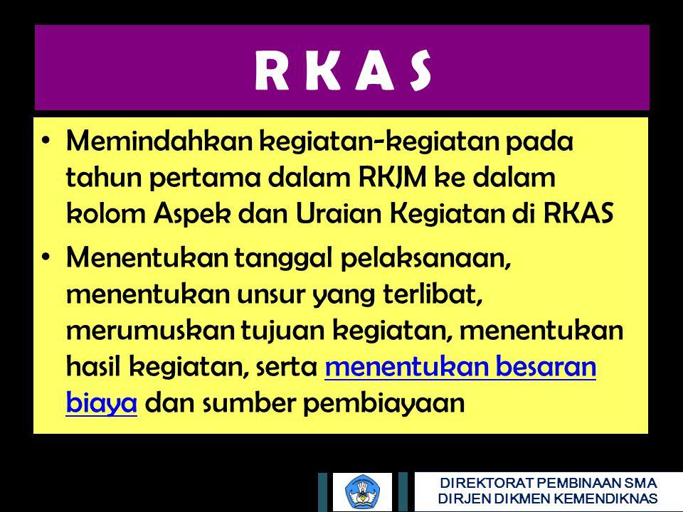 R K A S Memindahkan kegiatan-kegiatan pada tahun pertama dalam RKJM ke dalam kolom Aspek dan Uraian Kegiatan di RKAS.