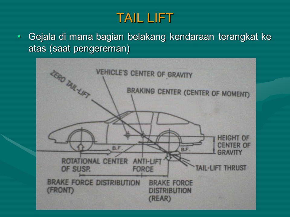 TAIL LIFT Gejala di mana bagian belakang kendaraan terangkat ke atas (saat pengereman)