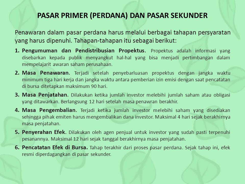 PASAR PRIMER (PERDANA) DAN PASAR SEKUNDER
