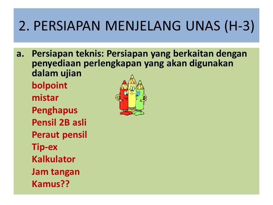 2. PERSIAPAN MENJELANG UNAS (H-3)
