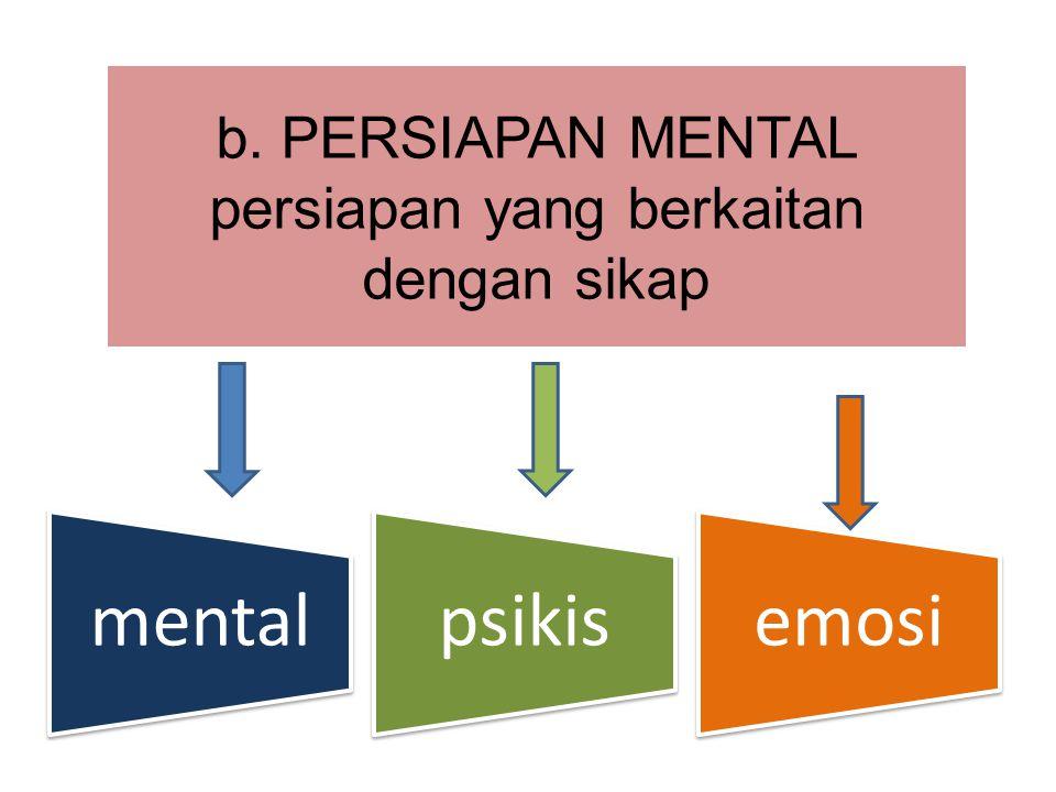 b. PERSIAPAN MENTAL persiapan yang berkaitan dengan sikap