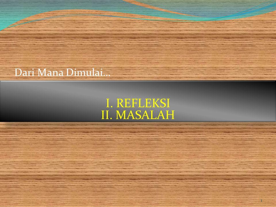 Dari Mana Dimulai… I. REFLEKSI II. MASALAH created by_Deyner Mengga