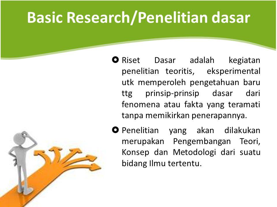 Basic Research/Penelitian dasar