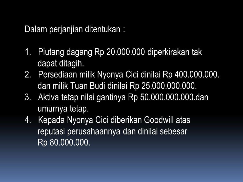 Dalam perjanjian ditentukan : 1. Piutang dagang Rp 20. 000