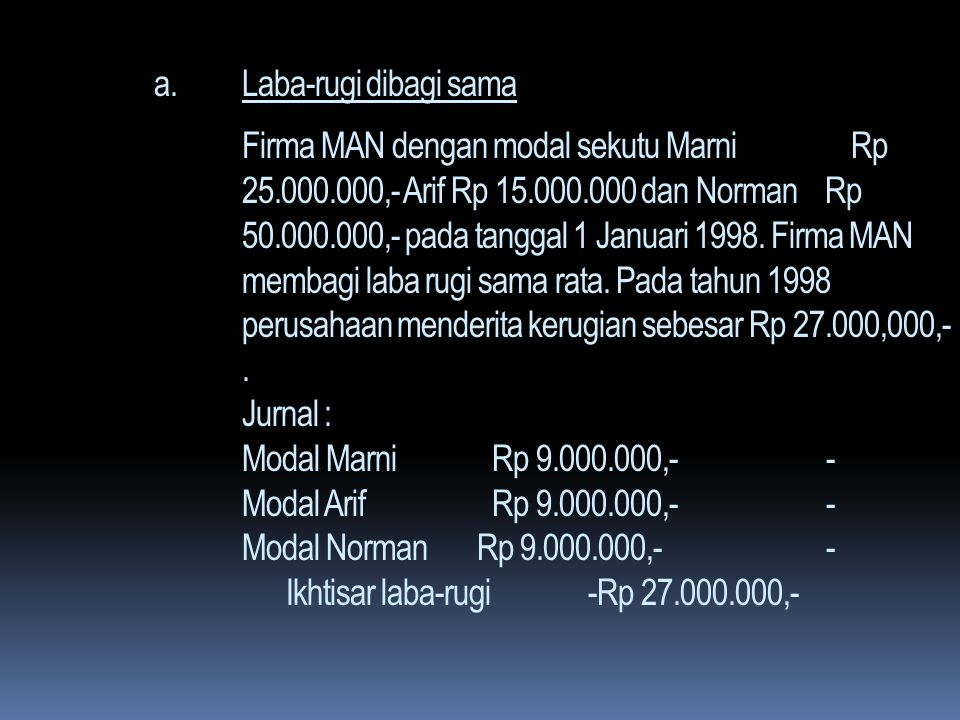Laba-rugi dibagi sama Firma MAN dengan modal sekutu Marni Rp 25. 000