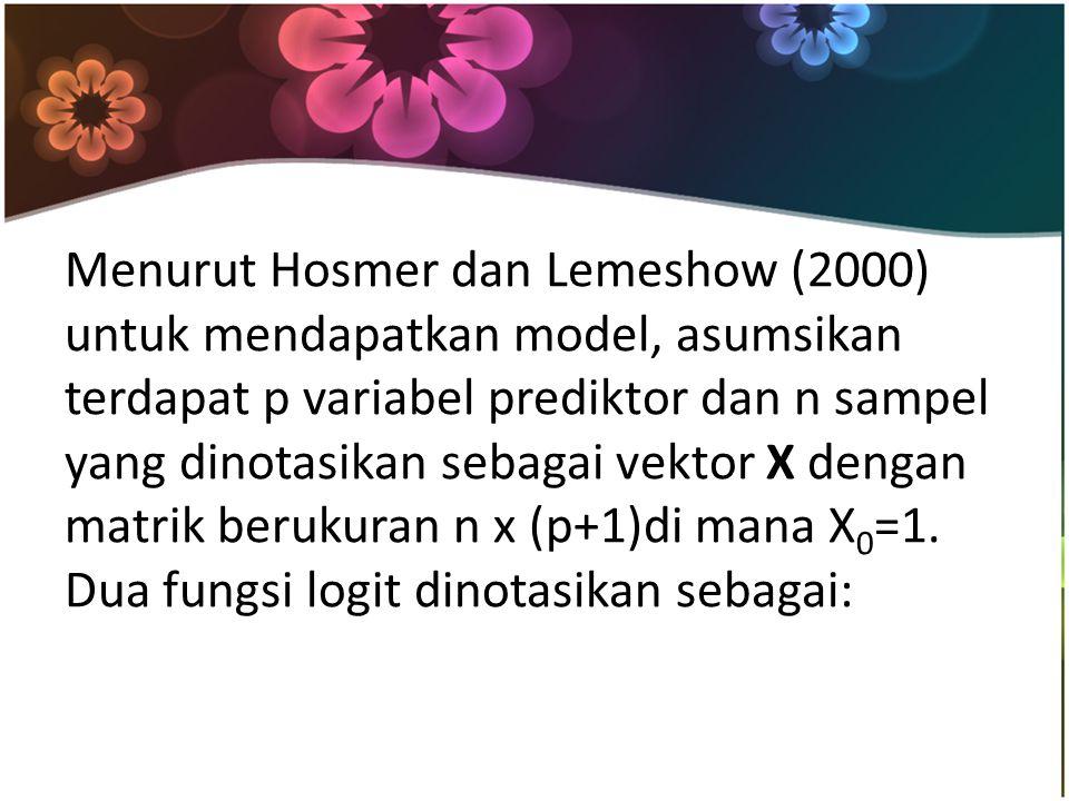Menurut Hosmer dan Lemeshow (2000) untuk mendapatkan model, asumsikan terdapat p variabel prediktor dan n sampel yang dinotasikan sebagai vektor X dengan matrik berukuran n x (p+1)di mana X0=1.