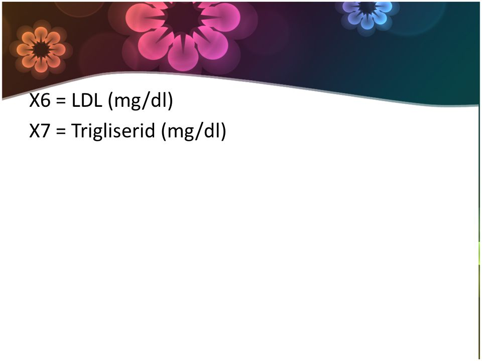X6 = LDL (mg/dl) X7 = Trigliserid (mg/dl)