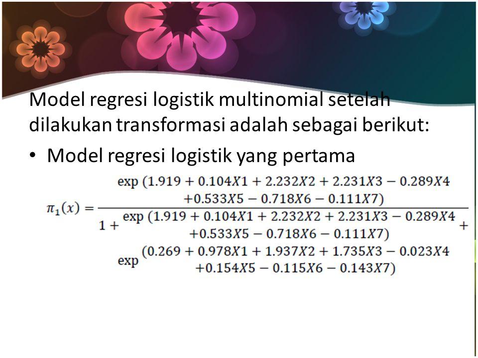Model regresi logistik multinomial setelah dilakukan transformasi adalah sebagai berikut: