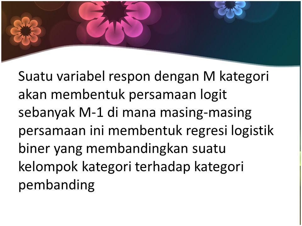 Suatu variabel respon dengan M kategori akan membentuk persamaan logit sebanyak M-1 di mana masing-masing persamaan ini membentuk regresi logistik biner yang membandingkan suatu kelompok kategori terhadap kategori pembanding