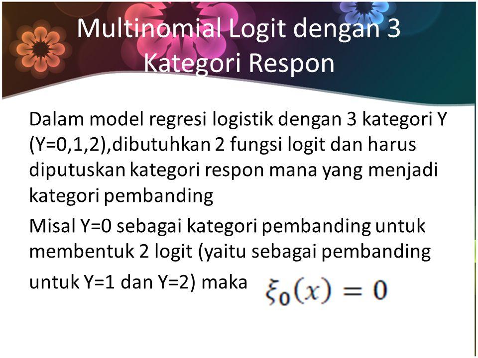 Multinomial Logit dengan 3 Kategori Respon