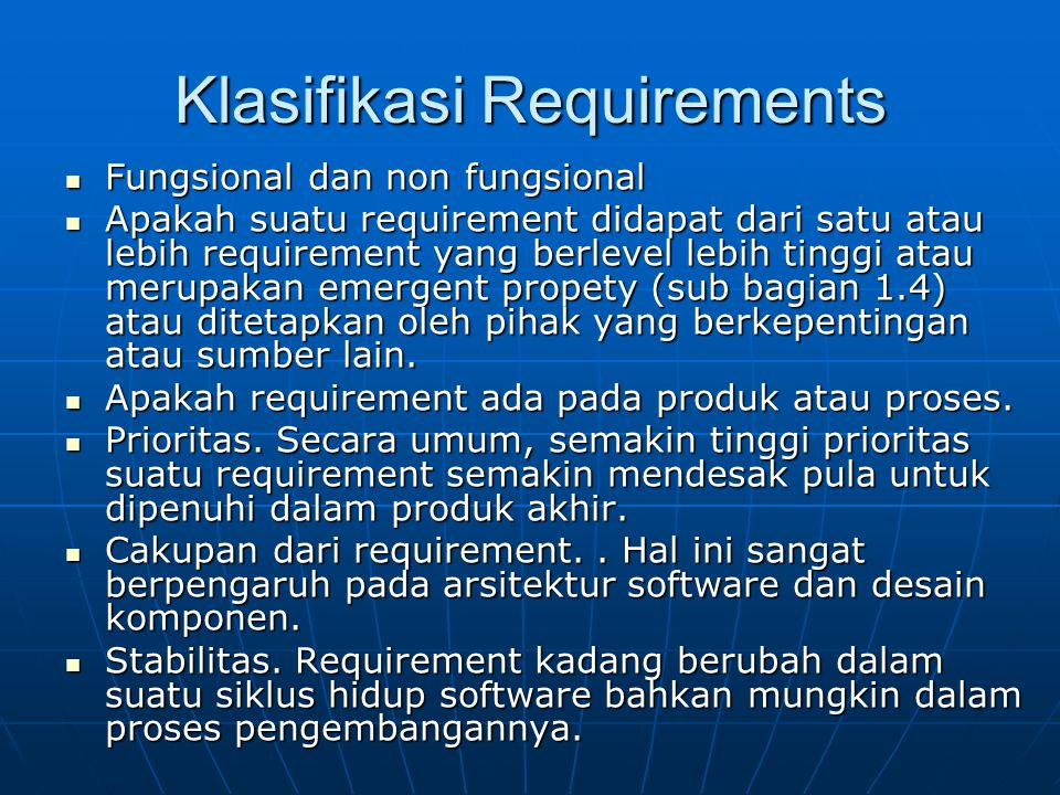 Klasifikasi Requirements
