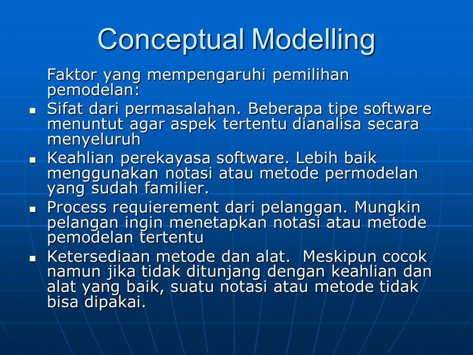Conceptual Modelling Faktor yang mempengaruhi pemilihan pemodelan: